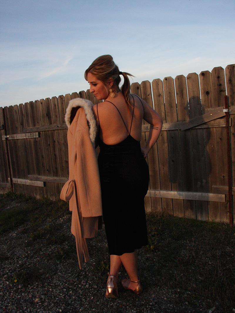 TOBI dress ,  J Crew Wedge Sandals,   Anthropologie Faux Fur Jacket , BaubleBar Earrings