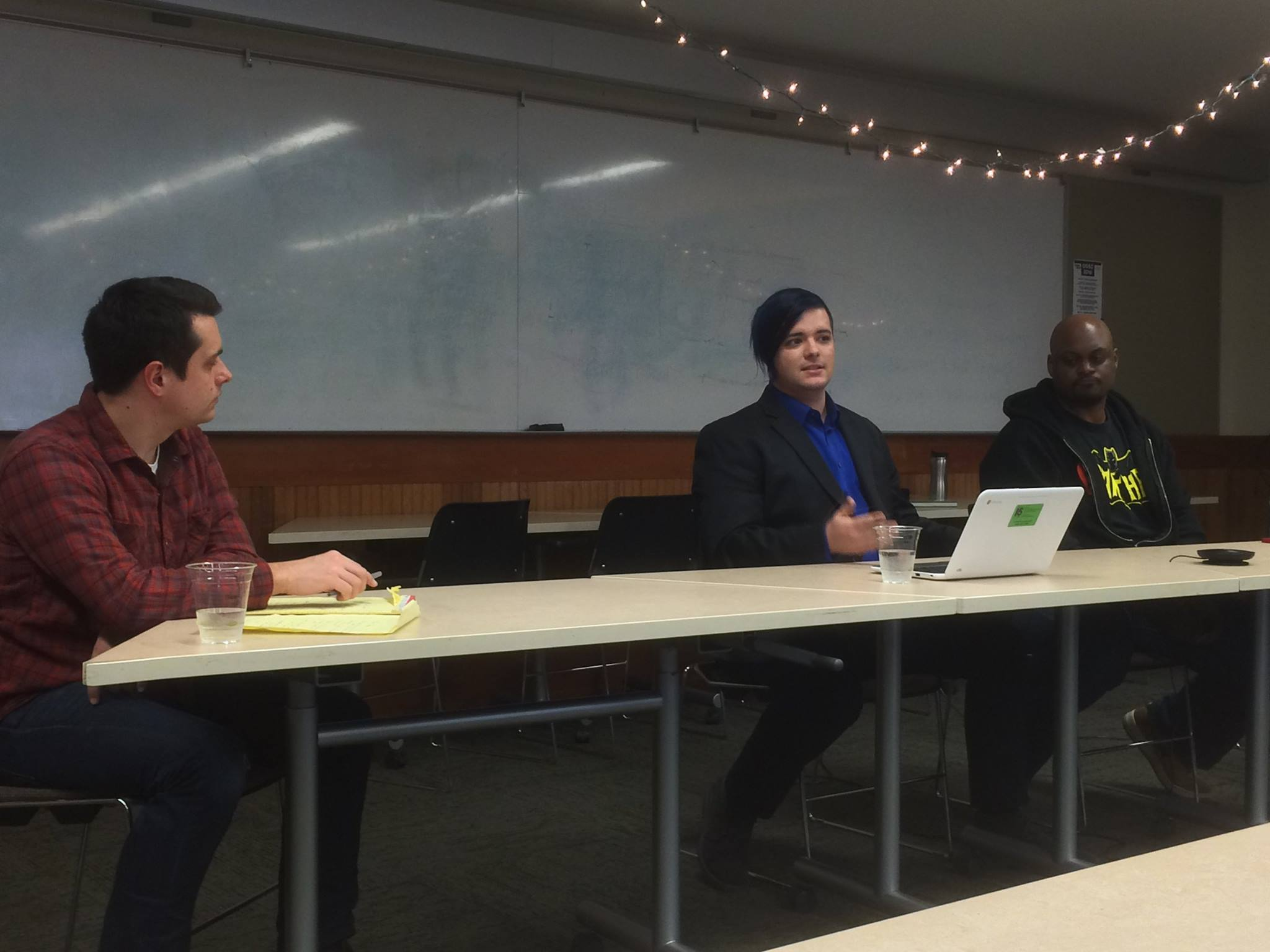Steering Committee member Christian Erichsen, with Solon Scott and Kahlief Adams, during the 'Multimedia Surrounding Games' panel.