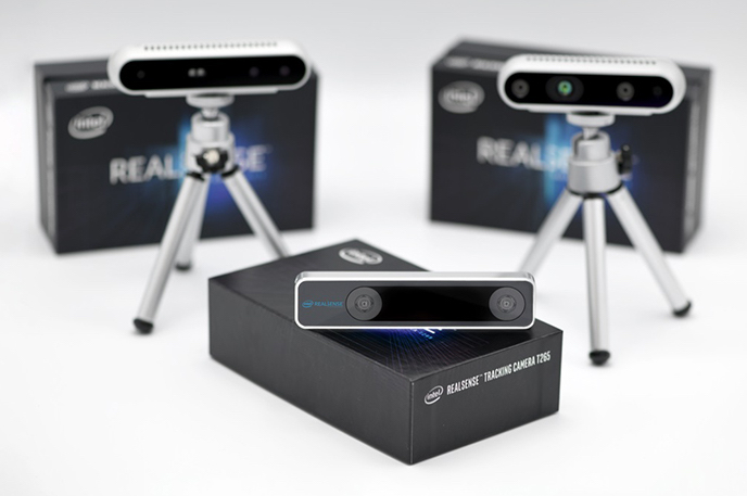 The Intel RealSense Tracking Camera T265 uses proprietary V-SLAM technology with computing at the edge and is key for applications that require a highly accurate and low-latency tracking solution, including robotics, drones, augmented reality and virtual reality. Intel Corporation introduced the Intel RealSense Tracking Camera T265 in January 2019. (Credit: Intel Corporation)