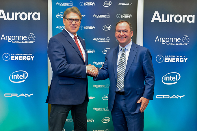"""U.S. Secretary of Energy Rick Perry (left) and Intel CEO Bob Swan are shown Monday, March 18, 2019, in Chicago at an announcement regarding the """"Aurora"""" supercomputer. Intel will deliver the United States' first exascale system to Argonne National Laboratory in 2021. (Credit: Argonne National Laboratory)"""