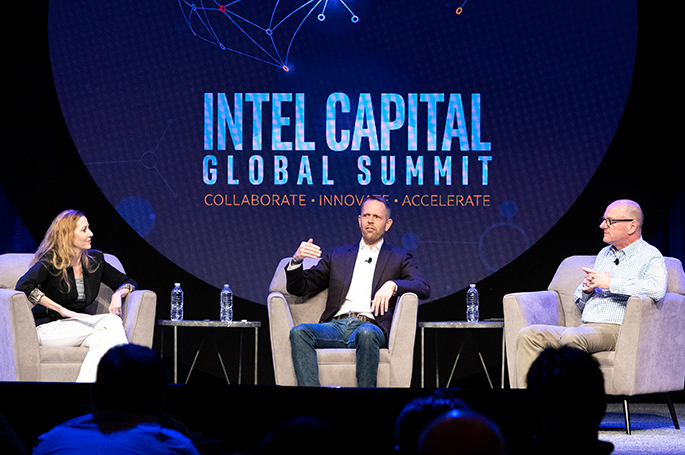 Arizona State University W.P. Carey School of Business Prof. Laura Lindsey (from left) moderates a fireside chat about global tech investing with Peter Tague, IN-Q-TEL executive vice president of International, and Intel Capital President Wendell Brooks to close out the Intel Capital Global Summit on Wednesday, April 3, 2019. The annual event, which runs April 1-3 in Phoenix, is the venture industry's premier technology networking gathering. (Credit: Intel Corporation)