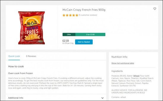 Example of an e-commerce listing of a McCain Foods product at a UK retailer