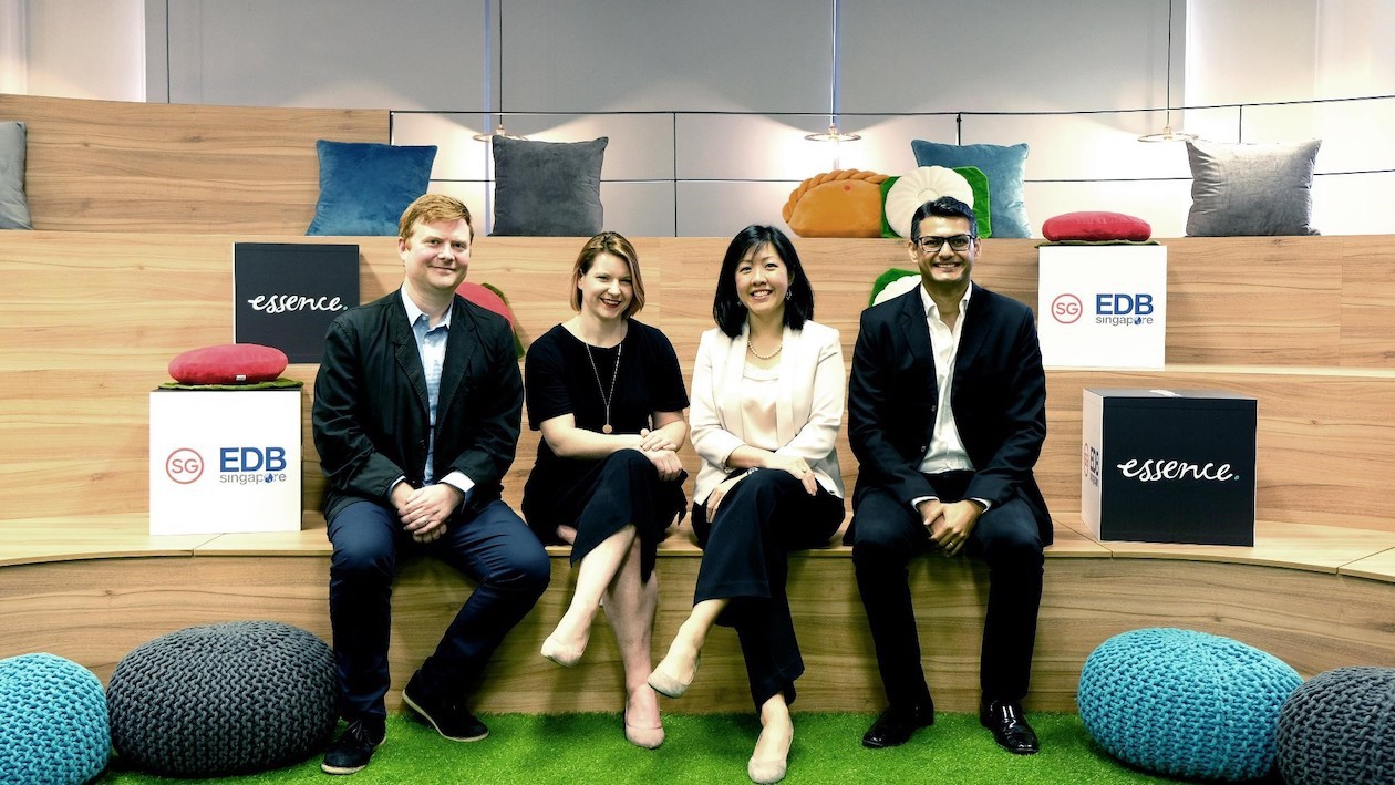 From left to right: Simeon Duckworth, Global Head of Strategy and Analytics, Essence, Sarah Walker, Global Head of Business Planning, Essence, Dawn Lim, EDB (quoted), and Kunal Guha, Essence (quoted), at Essence's Singapore office