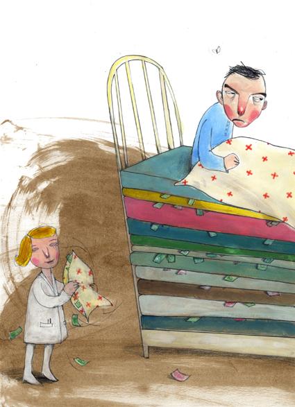 Helse Midtnorge /Bennett 2007 Redaksjonell illustrasjon; Legger pasienter merke til de pengene som punpes inn i helsevesenet? Oppdraget omtattet: forside, 1,5 side + spot