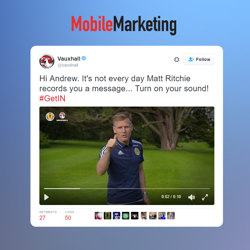 Vauxhall and Twitter Partner to Send Personalised Messages from Soccer Players to Fans