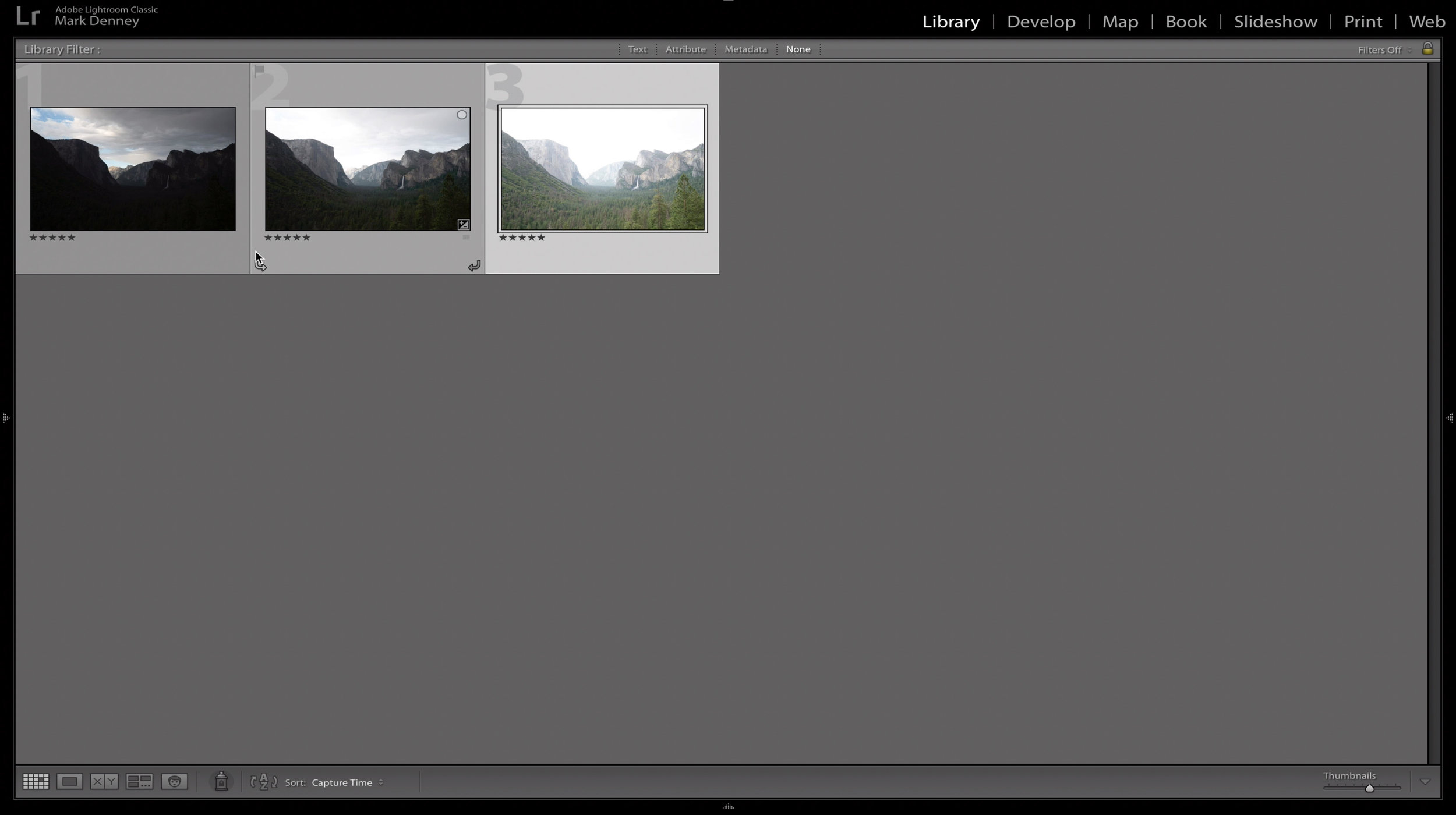 The results in Lightroom of a three image exposure bracketed series from Yosemite Valley.