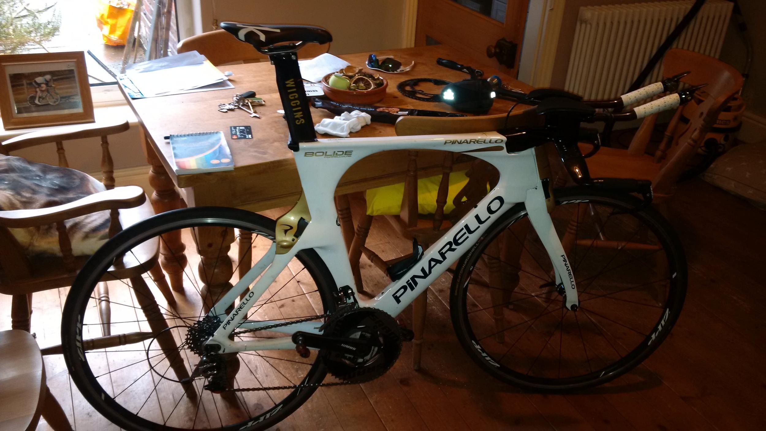 Thursday's bike being prepared