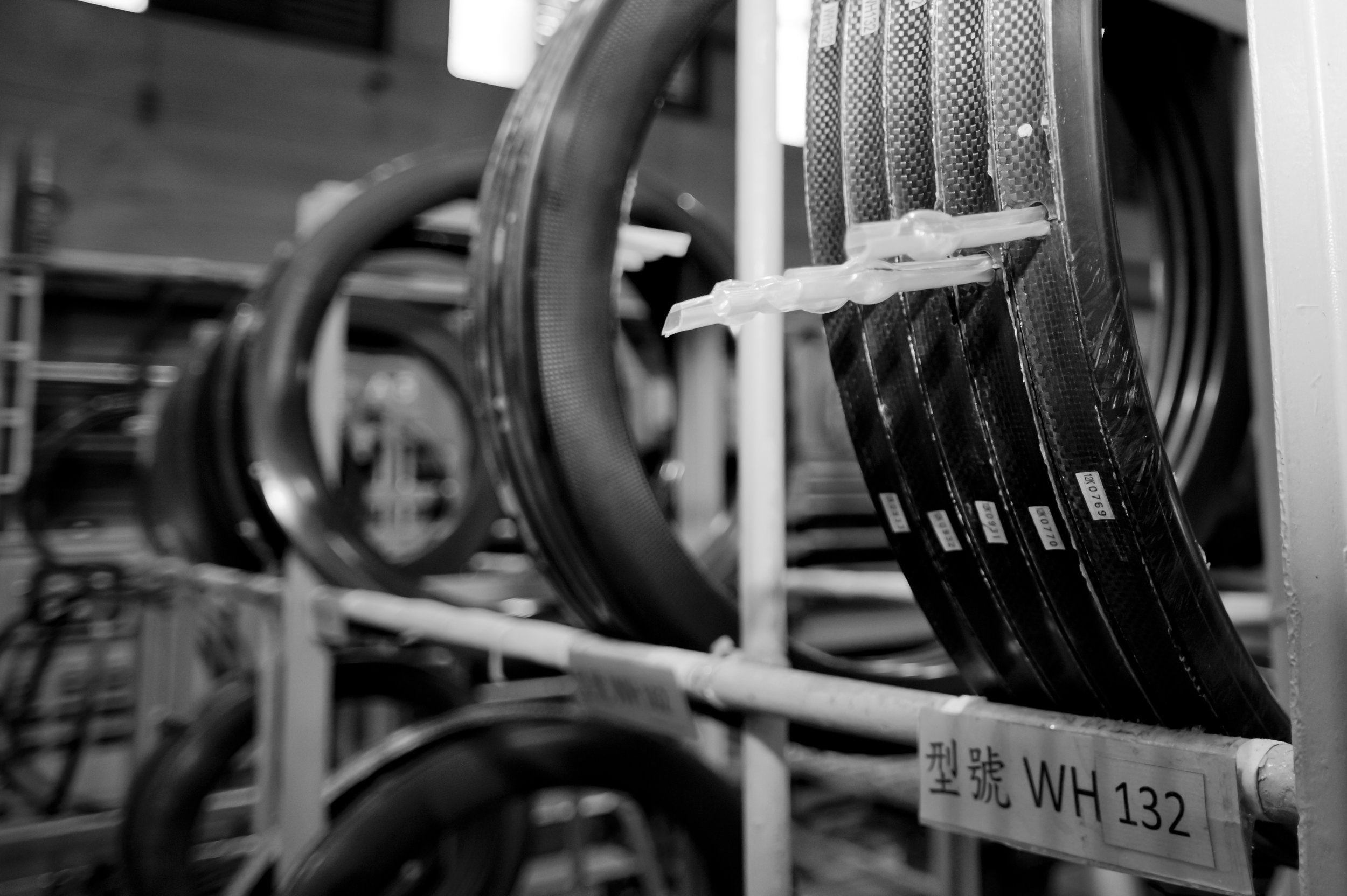 Carbon wheels fresh from the fire at the Equinox factory, Taiwan © Crankphoto