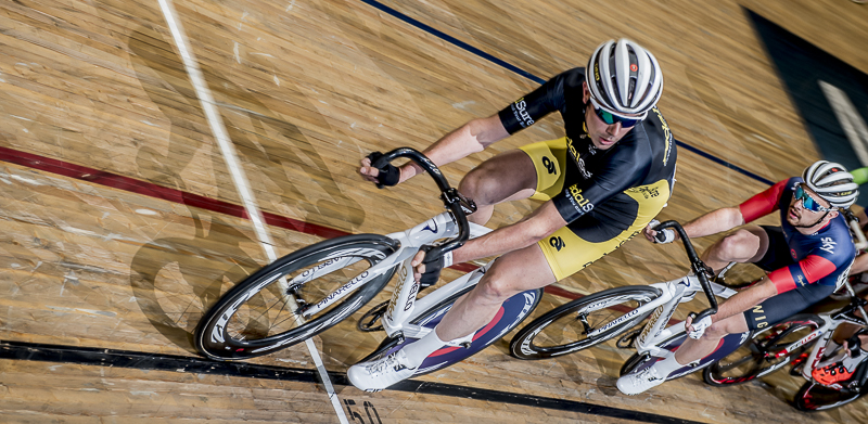 Andy looks back at Wiggins team mate Owain Doull, part of a set used by PedalSure, Manchester NCC 2015 © Crankphoto