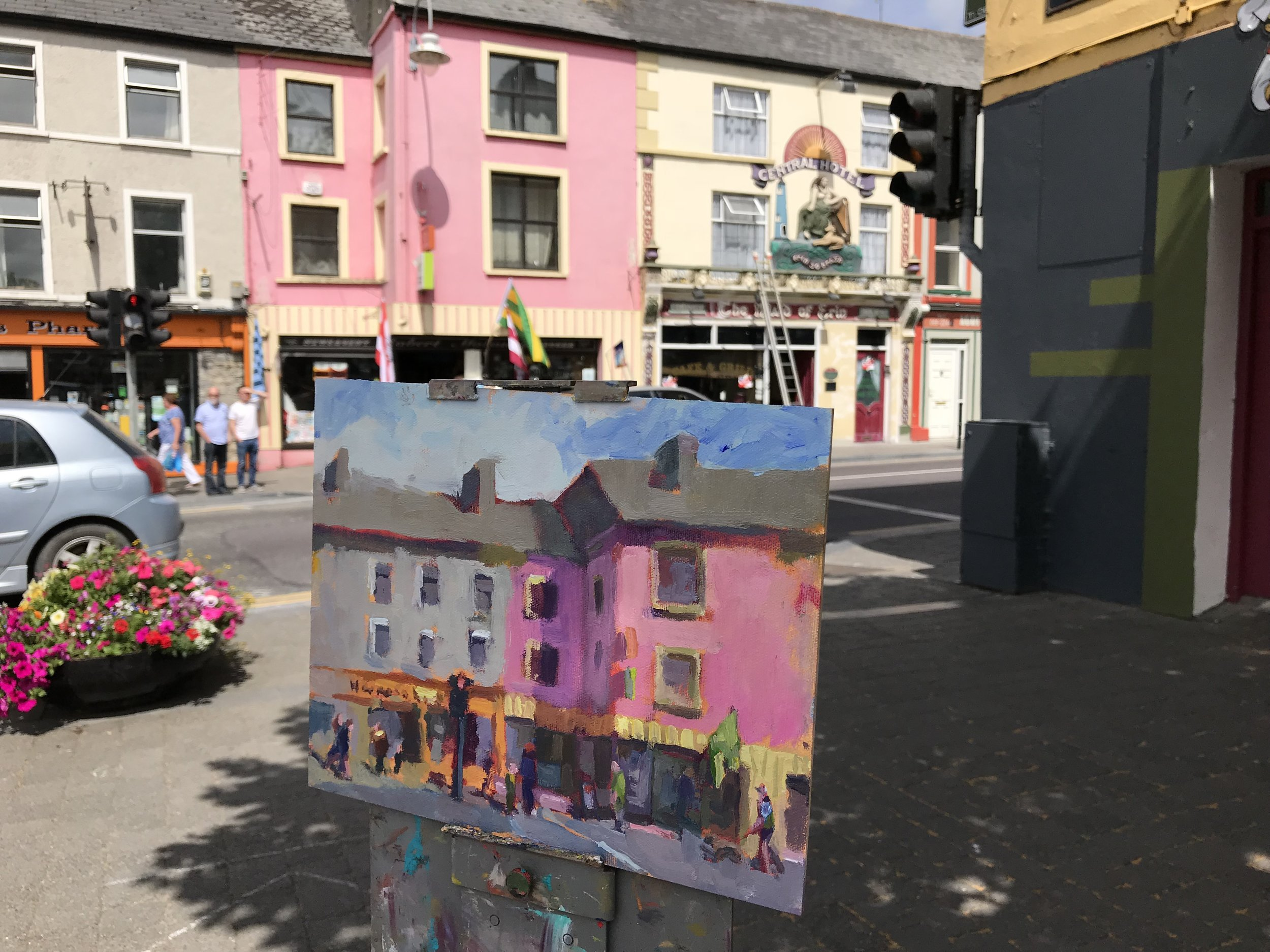 Painting on the streets of Listowel, Ireland.