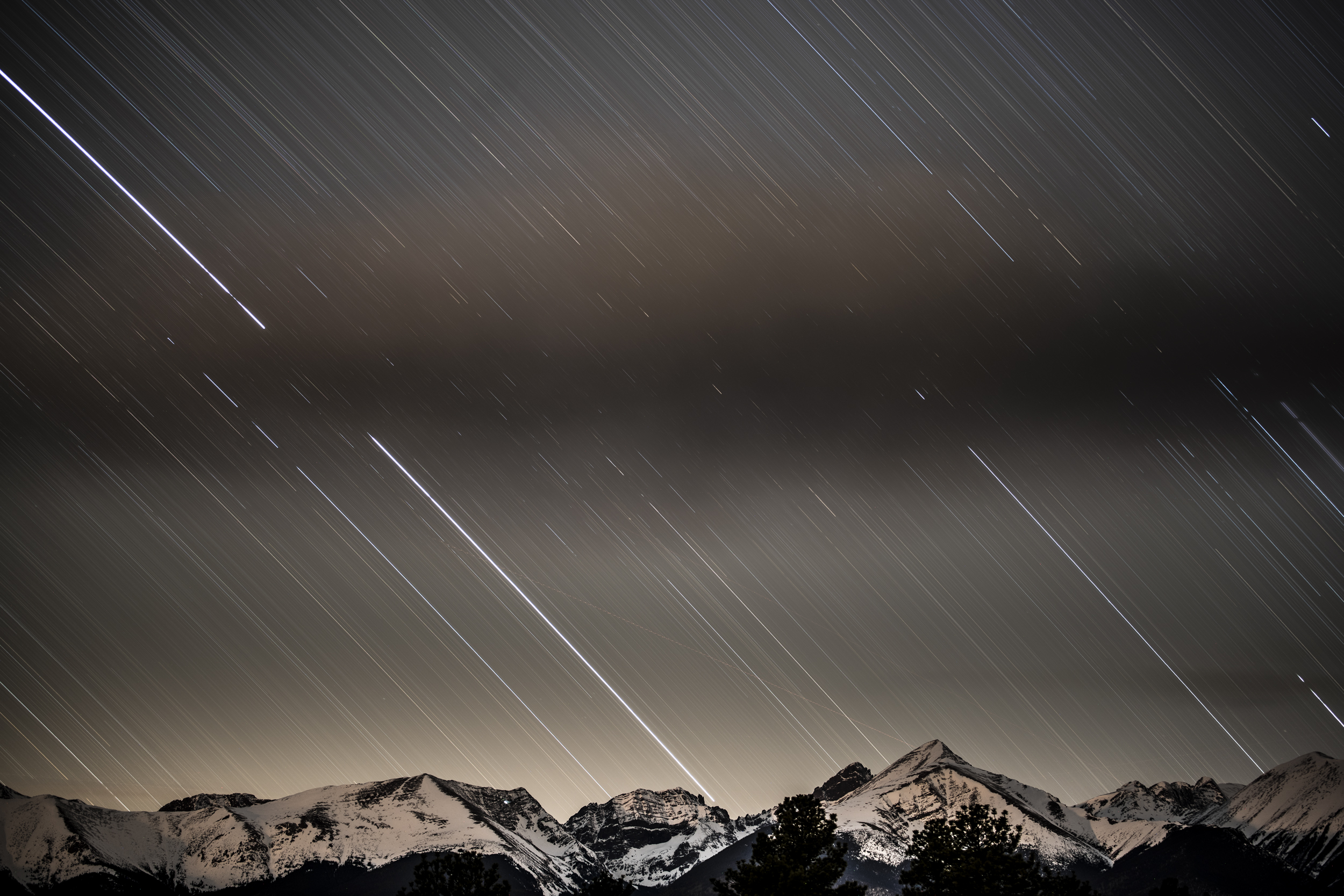 Star Trails over Rocky Mountains