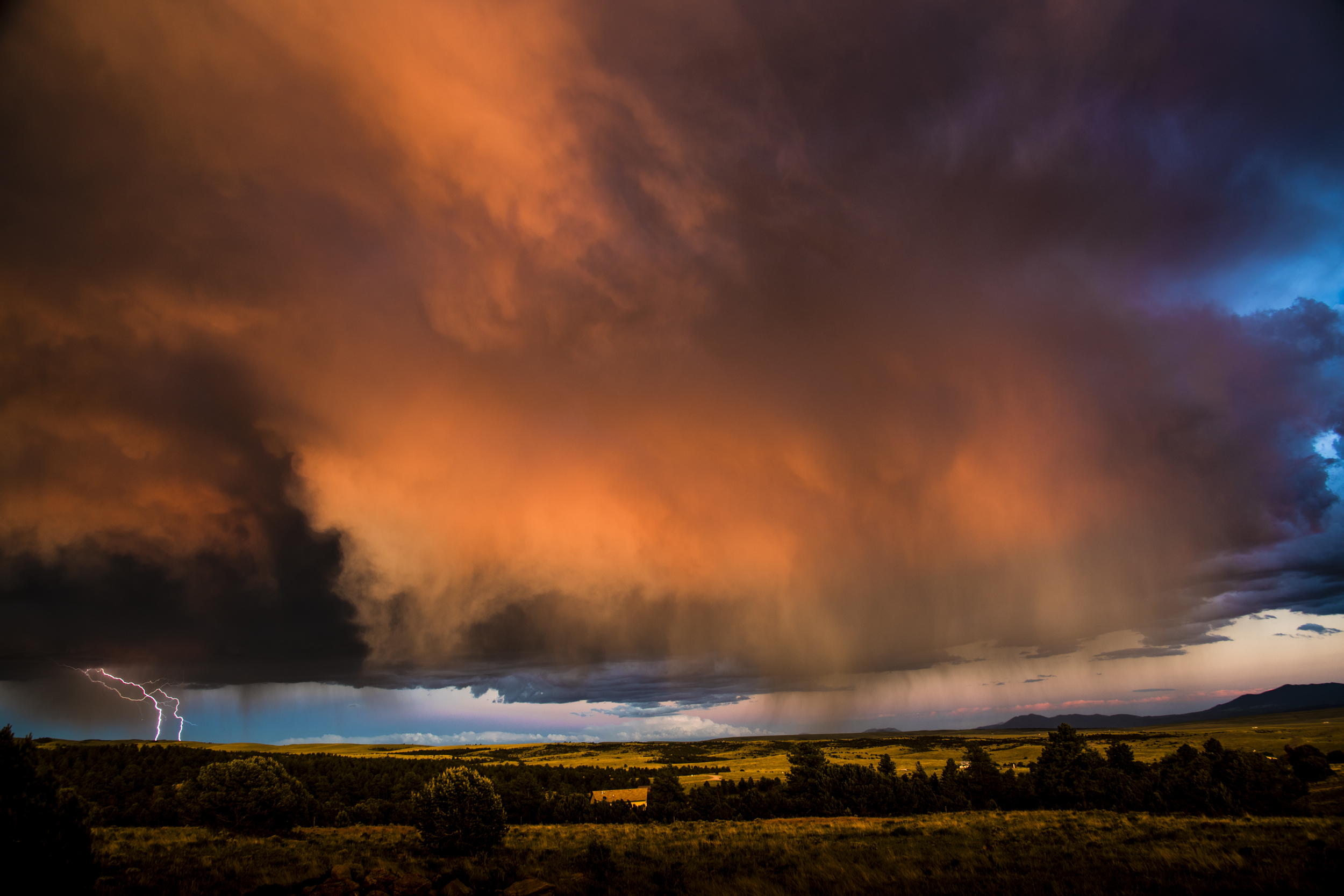 Lightning Storm over Valley in Colorado