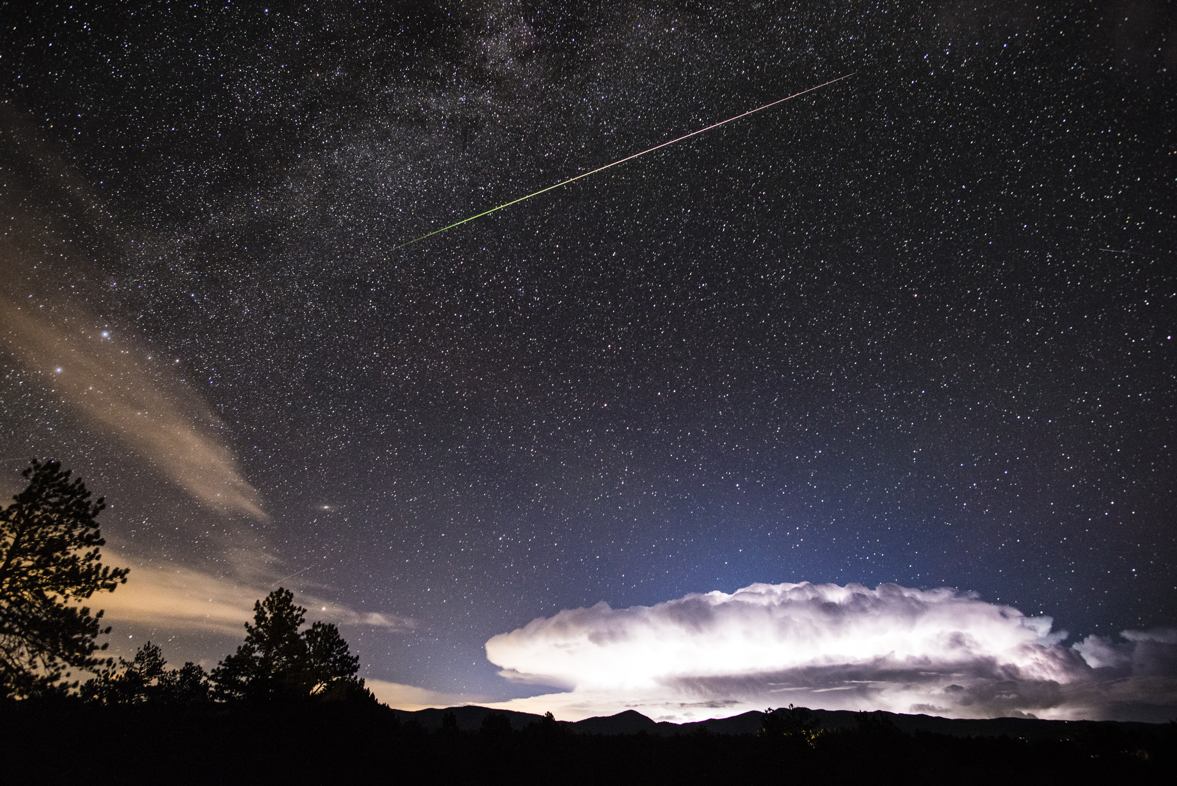 Meteor, Milky Way and Lightning Cloud