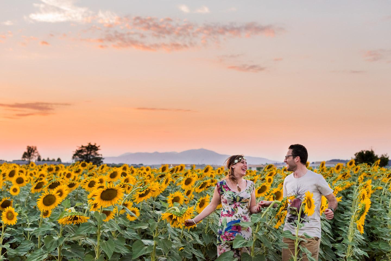 girasoli tramonto toscano salti di allegria e gioia tra innamorati