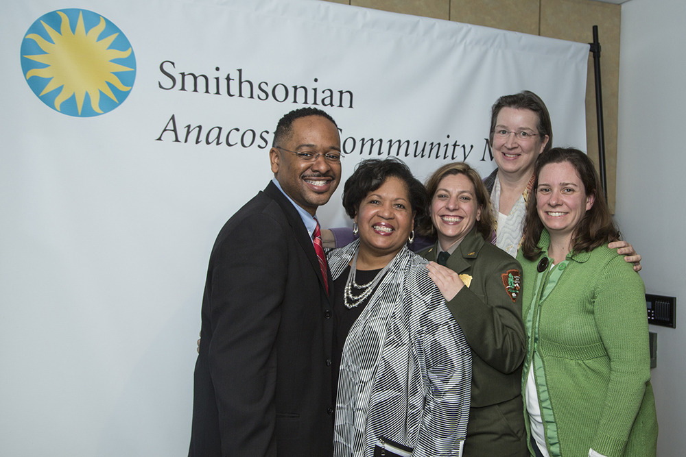 Dr. Rolando Herts had the pleasure of introducing Reena Evers to National Park Service representatives Maggie Tyler, Martha Raymond, and Kathleen Durcan, all of whom work with the National Heritage Areas Program. (Photo courtesy of Smithsonian Institution)