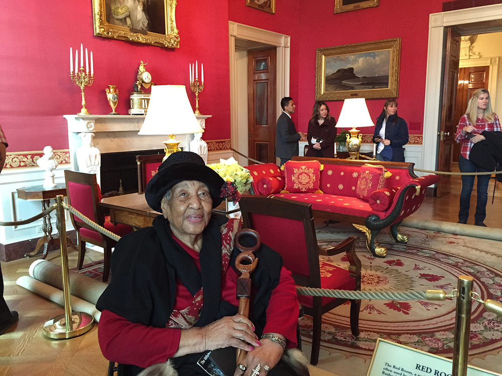 """Annyce Campbell of Mound Bayou, whose portrait graces the cover of """"Delta Jewels: In Search of My Grandmother's Wisdom,"""" recently enjoyed a visit to the White House."""