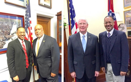 Dr. Rolando Herts (left), director of the Delta Center for Culture and Learning, recently met with Congressman Bennie Thompson and Senator Roger Wicker to discuss the Mississippi Delta National Heritage Area.