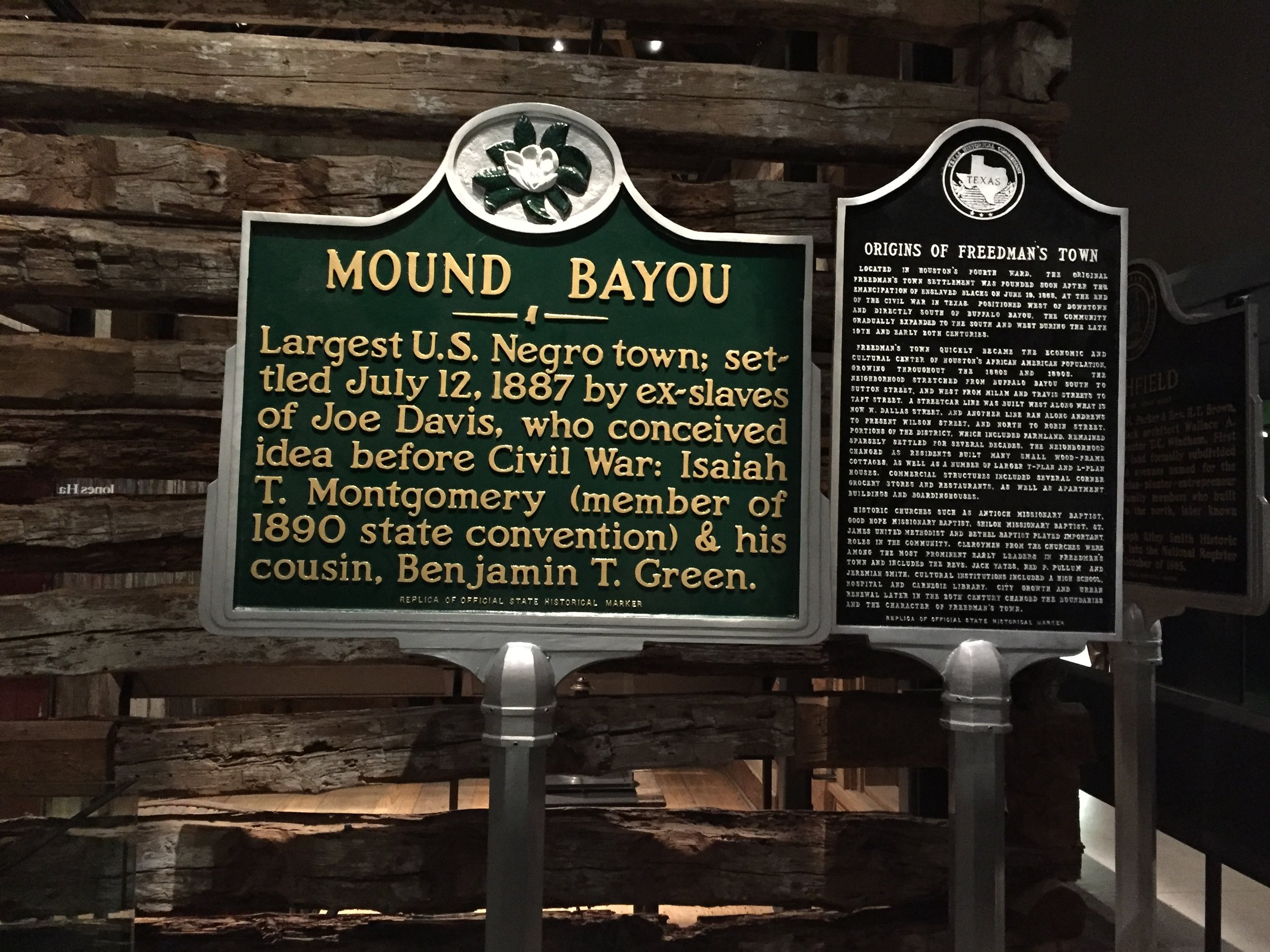 Smithsonian NMAAHC Historic Black Towns exhibit featuring Mound Bayou, MS