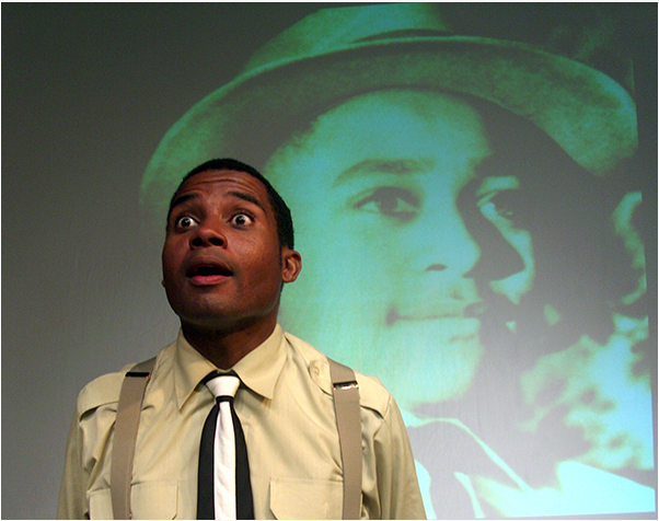 Mike Wiley performing his one-actor drama.