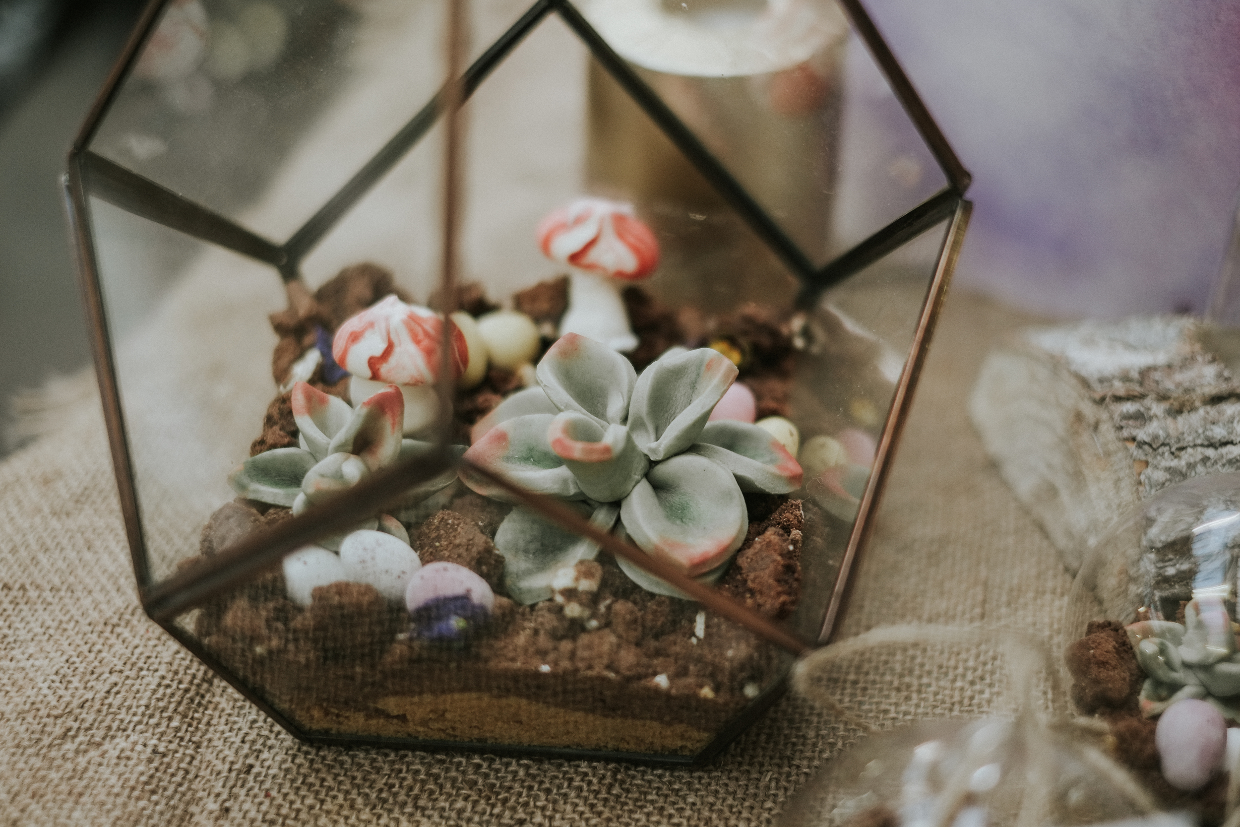 If you think that these little terrariums by  Kensington Lane  look good enough to eat... that's because they are! A lovely idea for alternative table favours and centrepieces.
