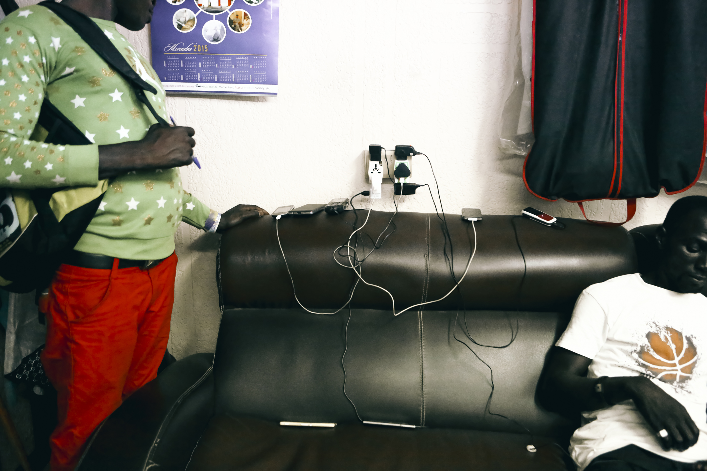 For a small amount of money, people can use the outlets in a barber shop to charge their mobile phones. Small businesses like barbershops usually have their own power generators,enabling them to keep working during power outages.