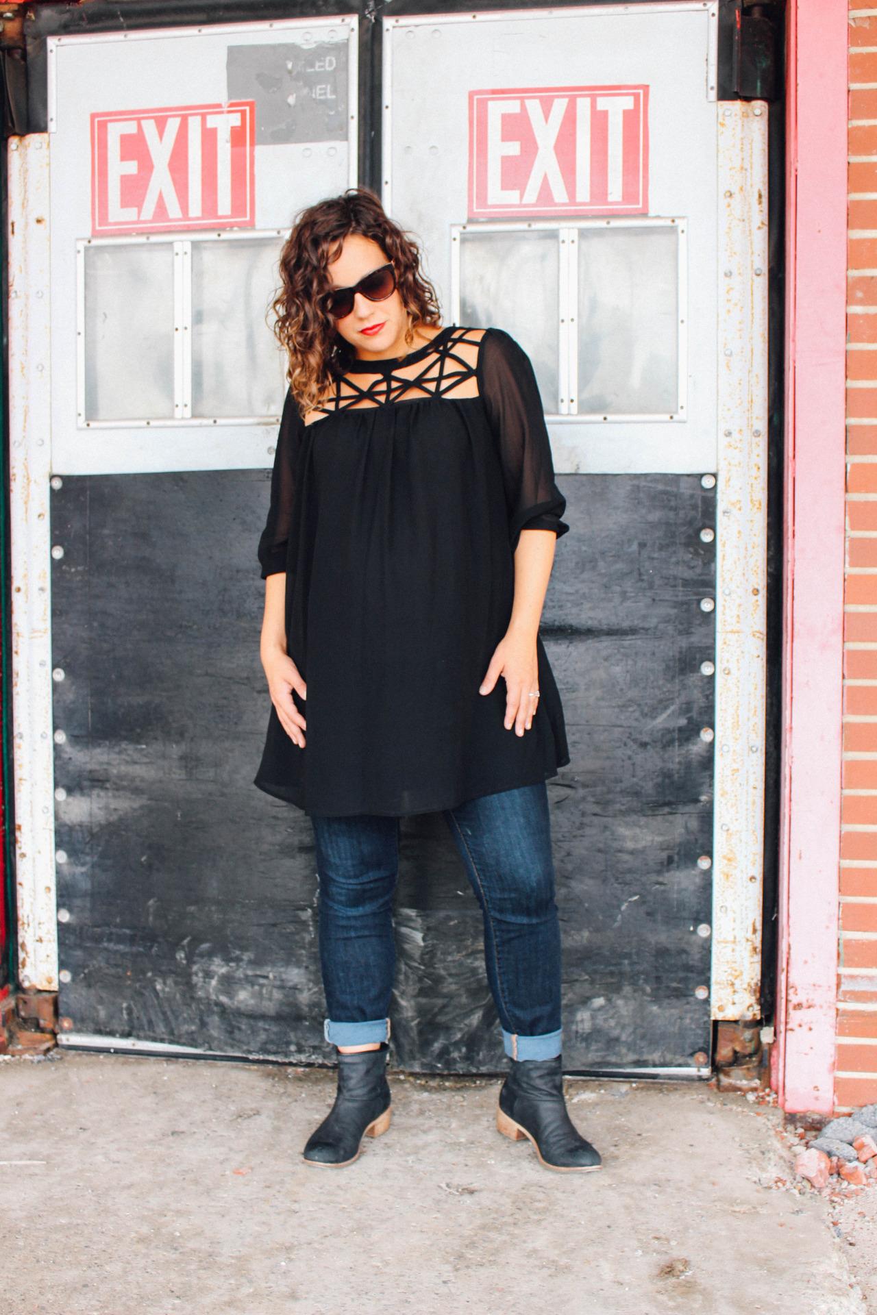 pregnancy outfit, black lose top