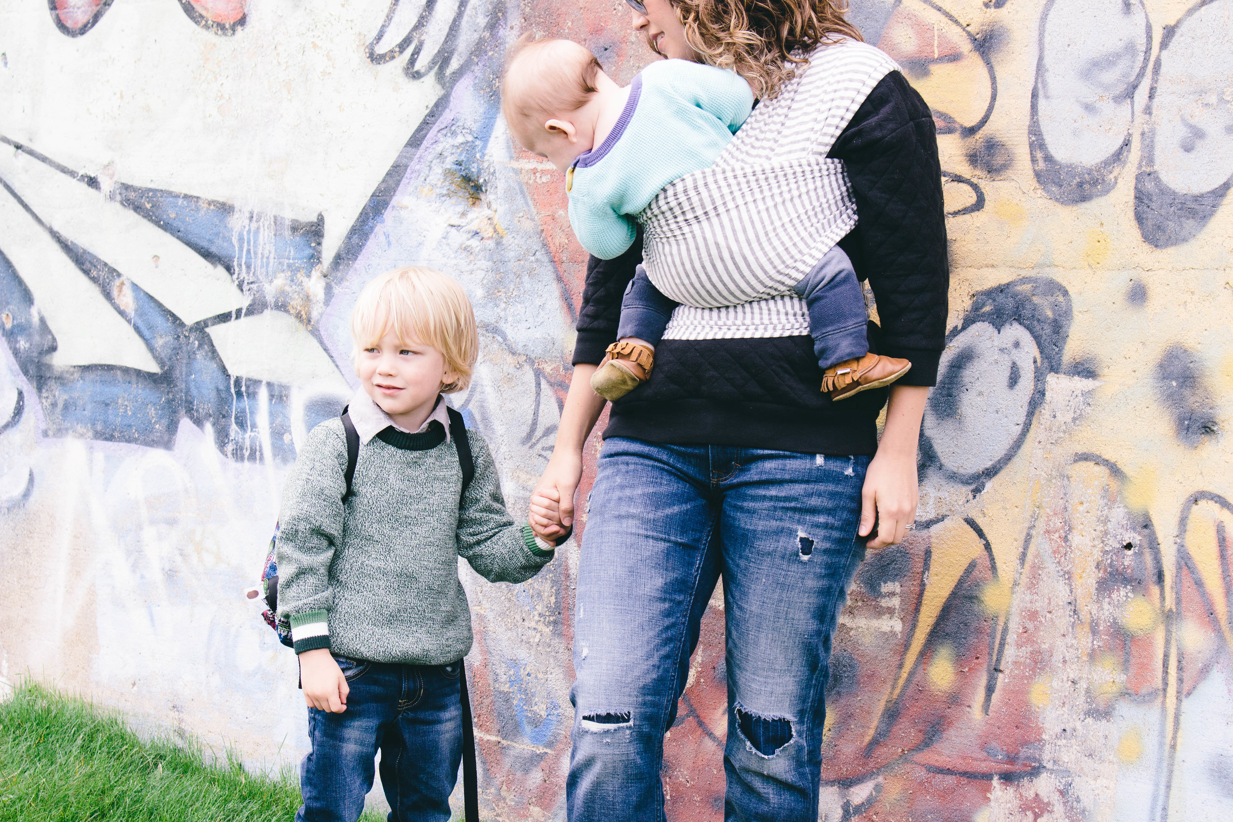 wrap baby wearing, solly baby wrap in gray stripes