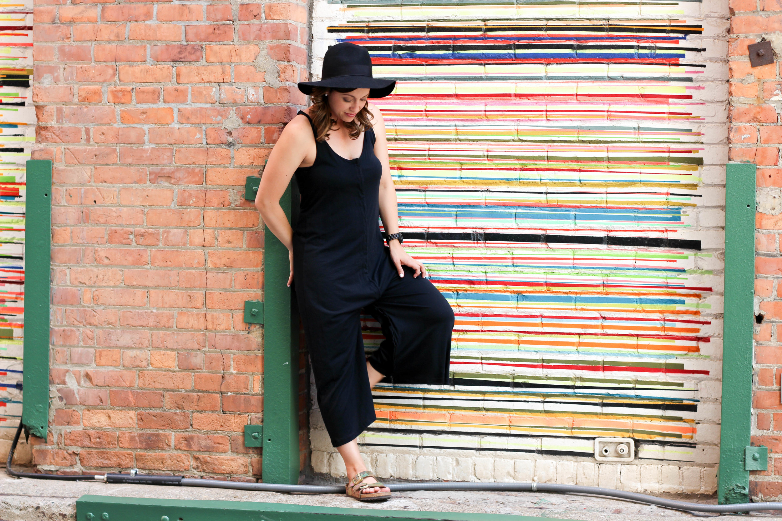 birkenstock, how to style birkenstocks, all black outfit, black ootd, perfect day to night outfit, one piece outfit, black watch, black floppy hat, how to style floppy hats, life update, womens fashion,