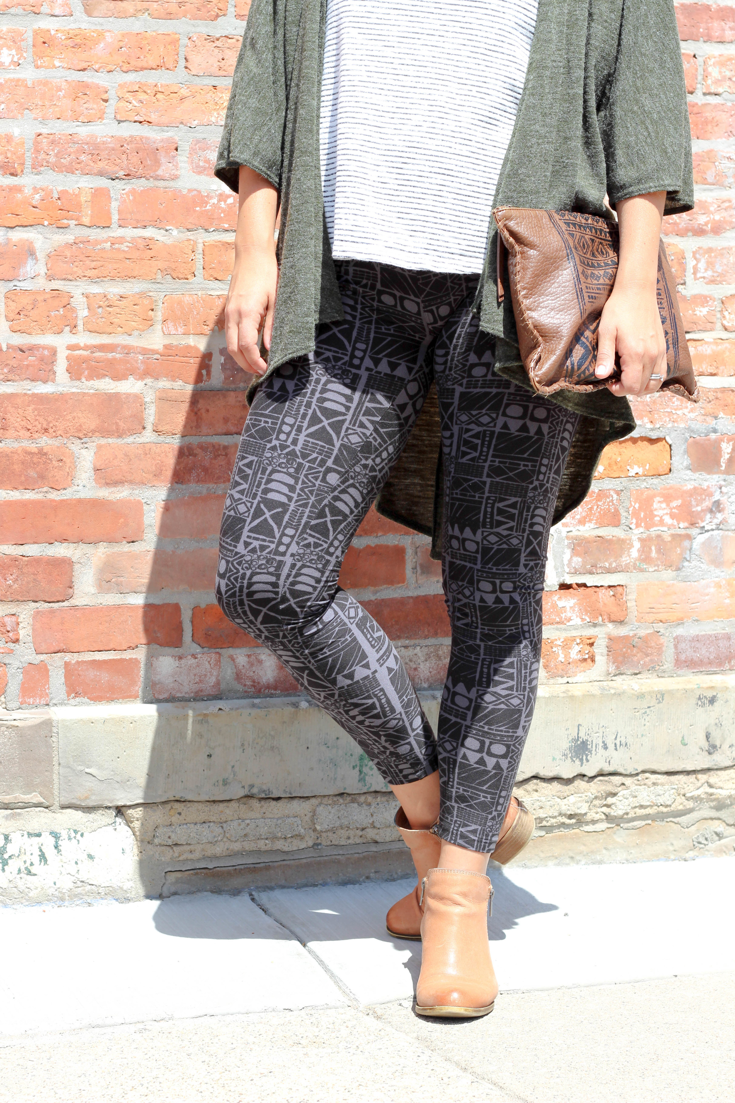 pattern leggings with strips, mixing patterns done right, how to style printed leggings, printed leggings for women, comfort fashion, bohemian, patterned pants, army green, mix and match prints, how to wear stripes, lucky brand booties, fall boots, fall booties, brown leather booties,