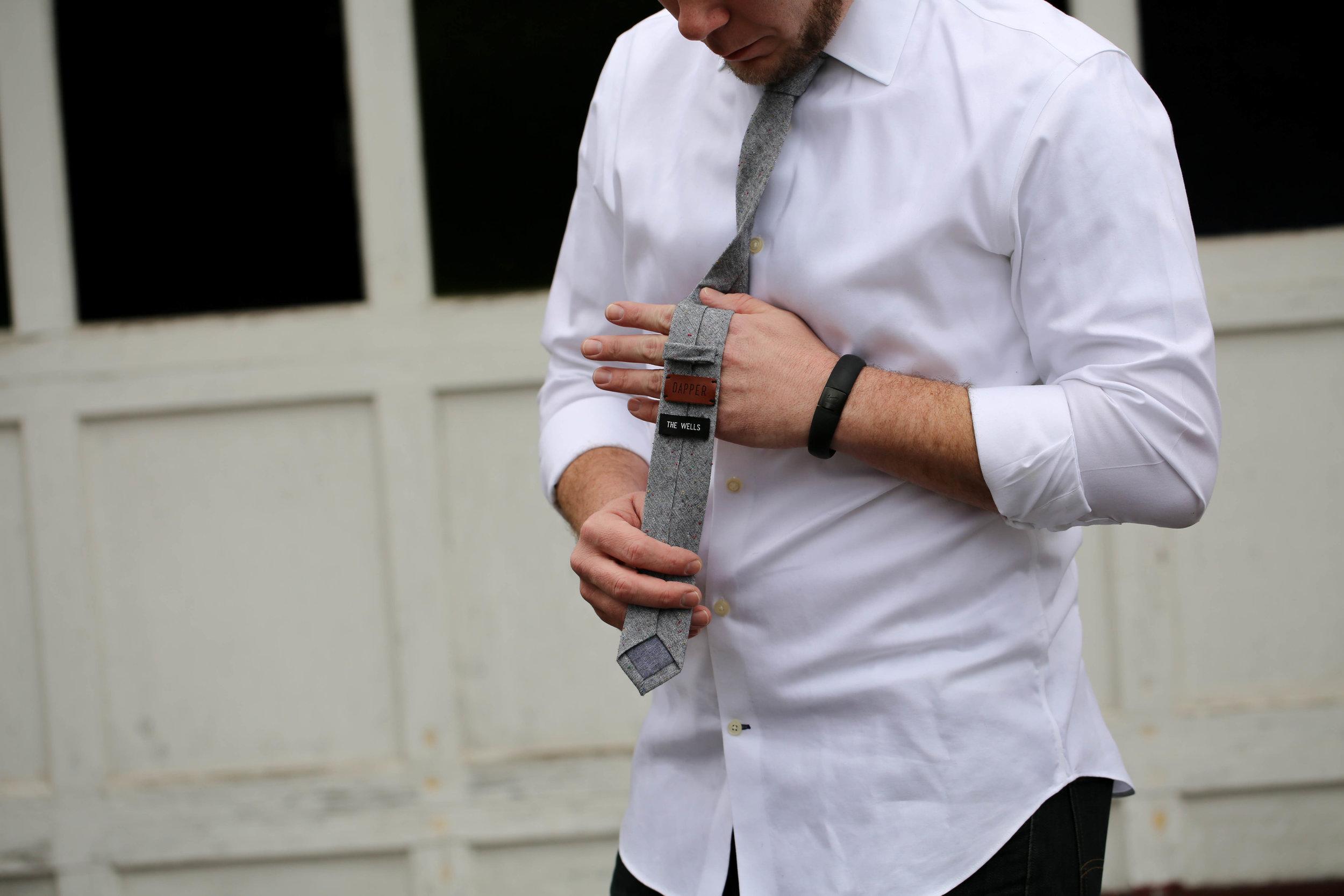 dapper tie, homemade tie, mens wear, white button down