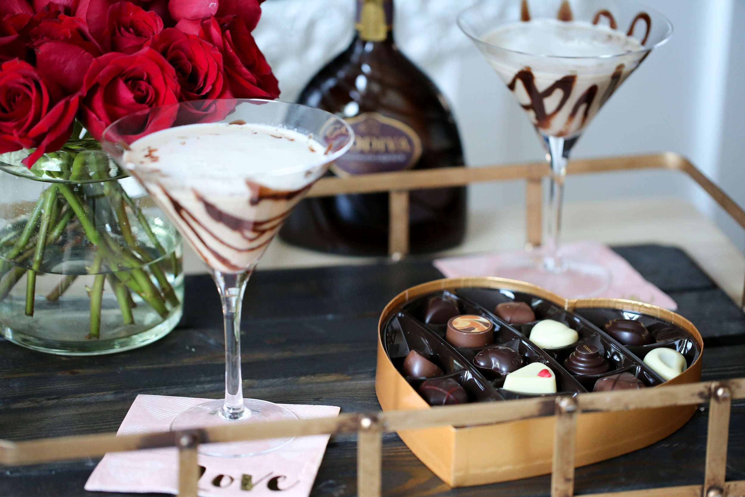 chocolate martini and candy