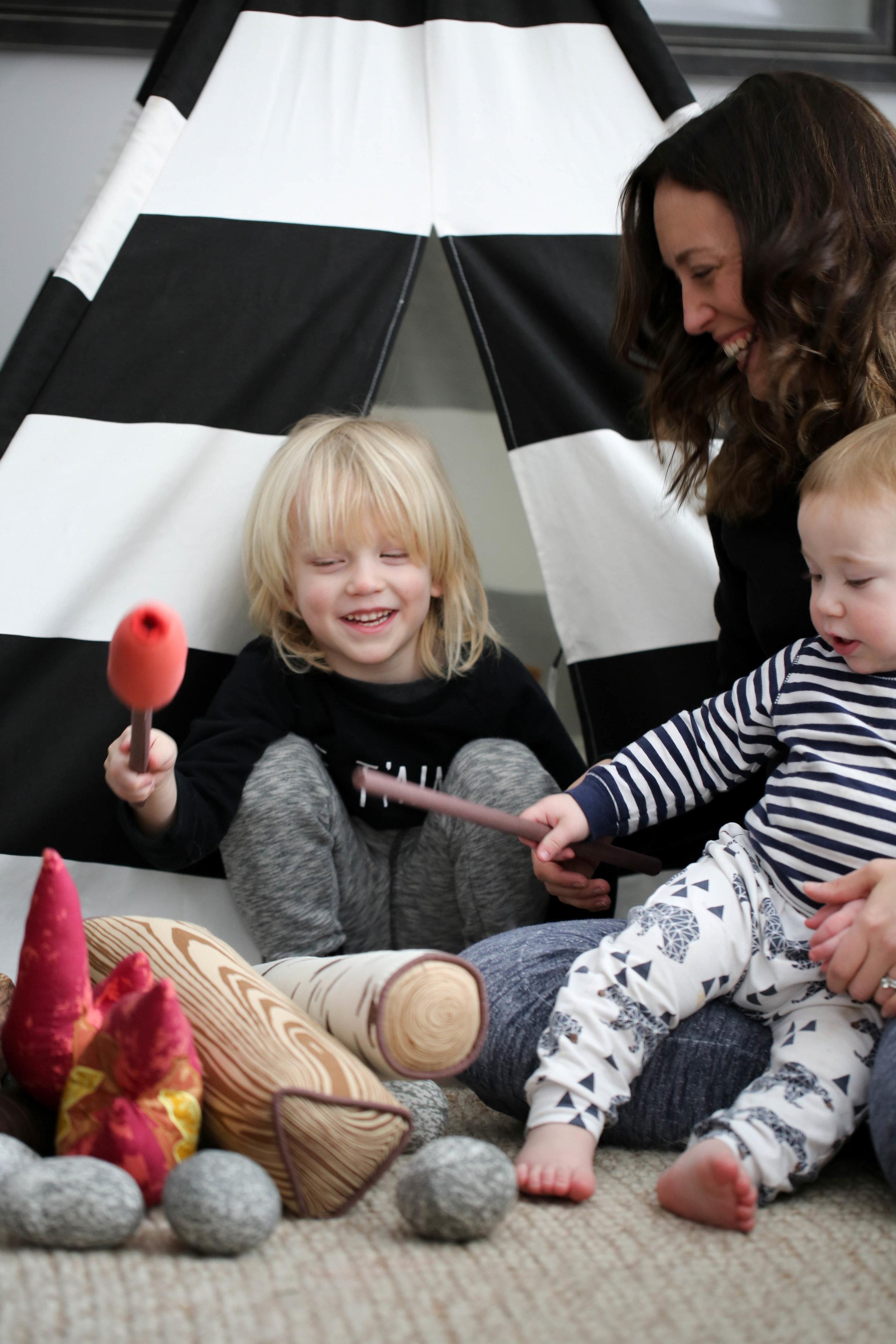 kids playing, teepee, pretend play