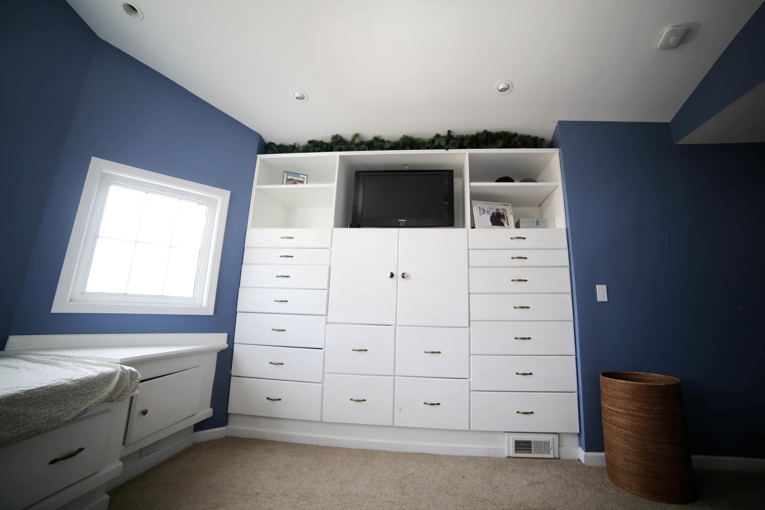 before master bedroom makeover, white built in