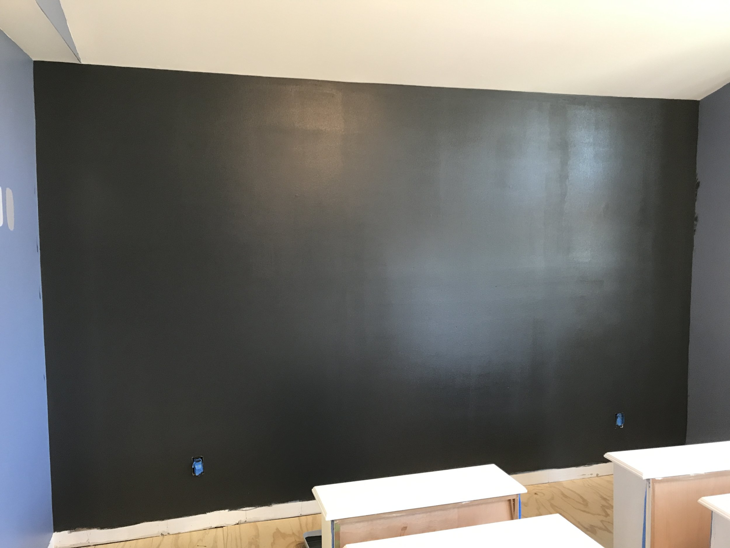 black bedroom wall