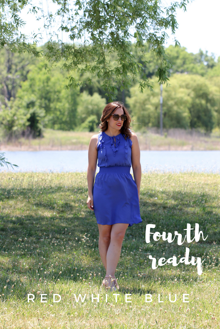 red, white and blue outfit, 4th of july outfit, fourth of july, ootd on the fourth of july, red white and blue, how to wear red white and blue, stripes, red lipstick, tortoise shell sunglasses, blue dress,