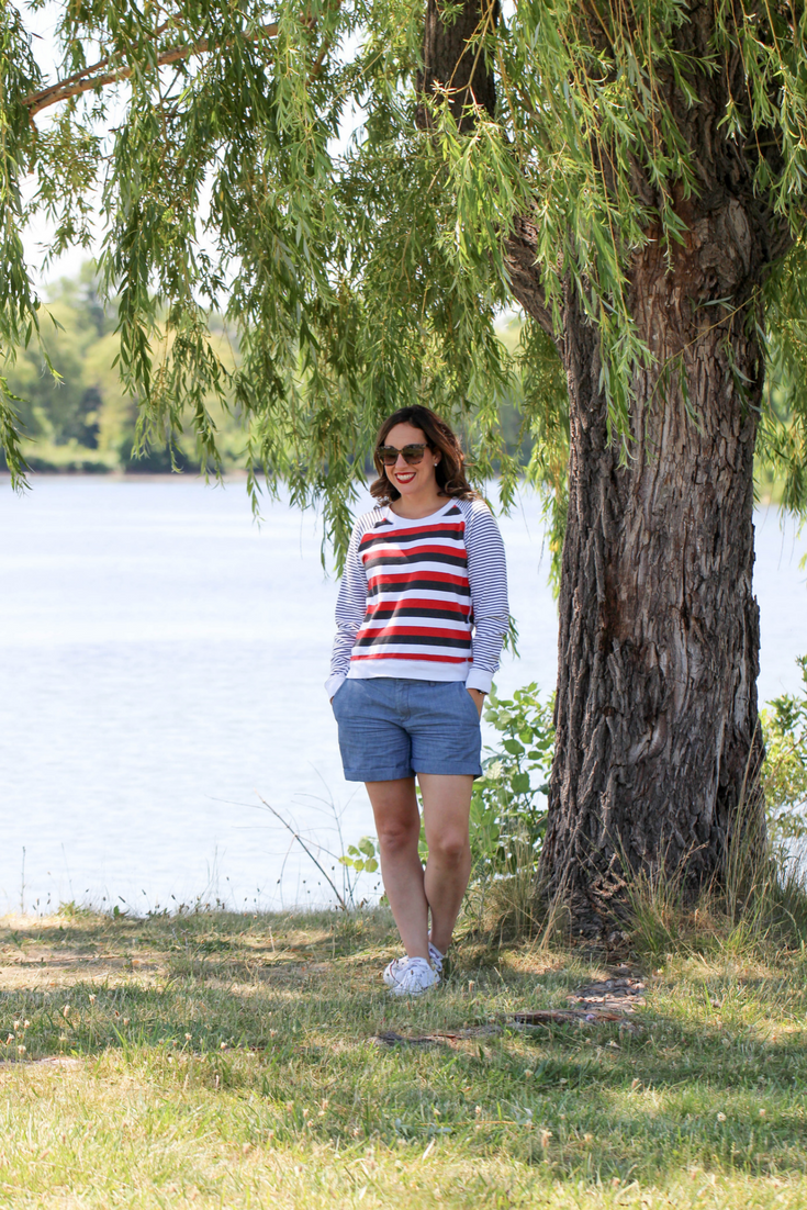 red, white and blue outfit, how to wear red, white and blue, shorts outfit, red white and blue, 4th of july