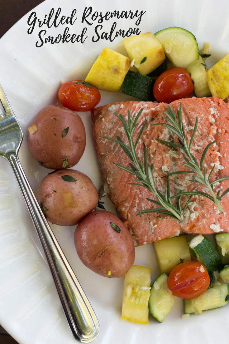 grilled rosemary smoked salmon recipe, smoked rosemary salmon and summer veggies, summer time dinner recipe, salmon, veggies, grilling, Cooking Gift Set Co., rosemary sprigs, garlic cloves, thyme, petite potatoes, summer squash, zucchini, cherry tomatoes, smoked sea salt, recipe for salmon, perfectly cooked salmon,