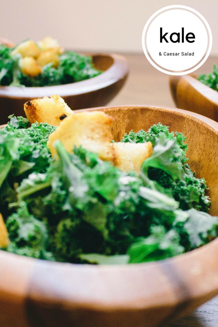 Kale Salad with Caesar dressing, Kale caesar salad, dressed up caesar salad, how to use kale, kale, easy salad recipe, parmesan cheese, garlic cloves, italian bread,