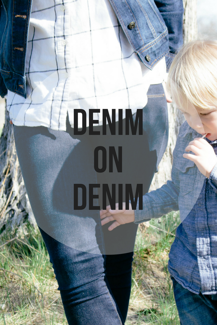 how to wear denim on denim, denim on denim with your little dude, denim on denim outfit, denim on denim, how to layer denim, button up shirts for women, chambray, fall fashion, denim in the fall, reflective aviators, jean jacket, how to wear adidas, wearing adidas with jeans, jeans and sneakers,