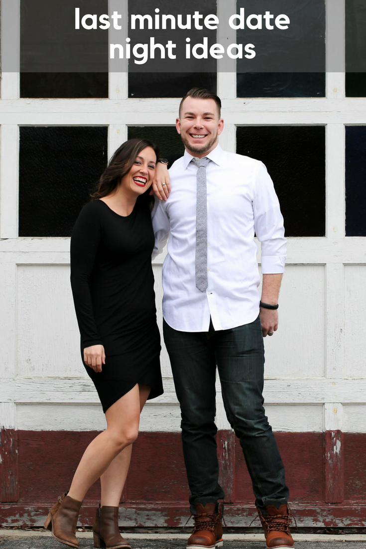 date night ideas! husband and wife, little black dress, shirt and tie, date night