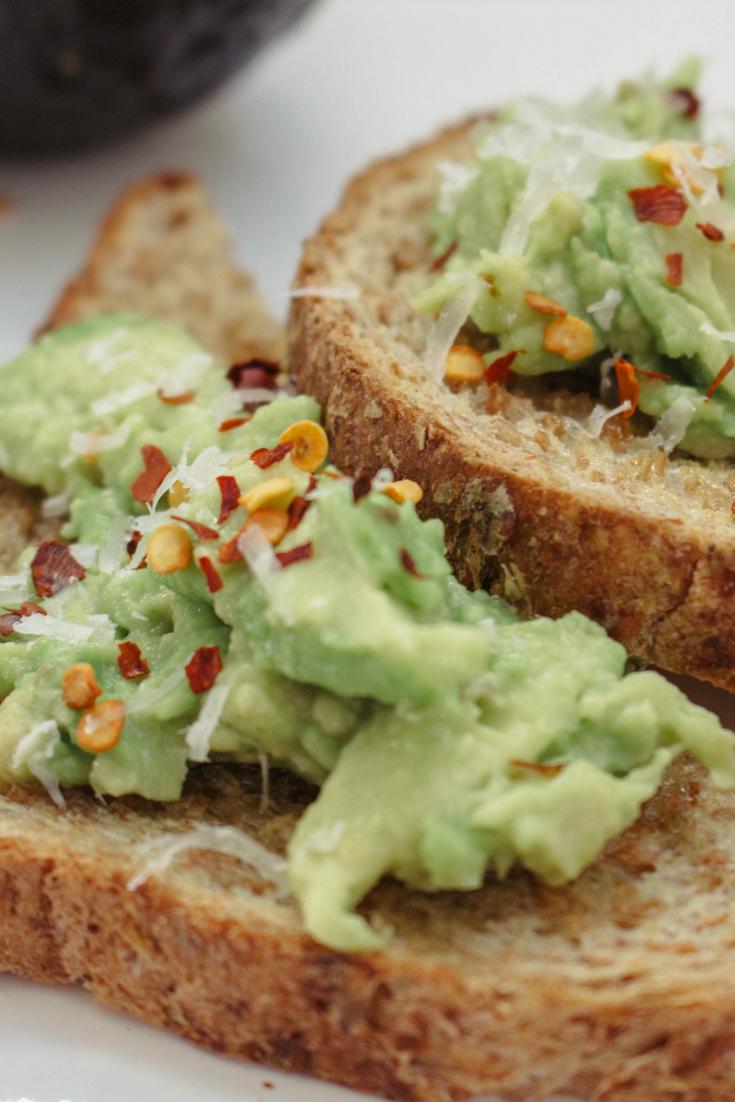 avocado toast, avocados, red pepper confetti, avocado toast with red pepper confetti, how to make avocado toast, olive oil, garlic powder, parmigiano-reggiano cheese, healthy breakfast choices,
