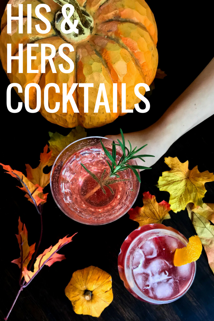 his and hers thanksgiving cocktails recipe, bourbon, prosecco, cranberry bourbon sipper, cranberry wine refresher, cocktails, cranberry simple syrup