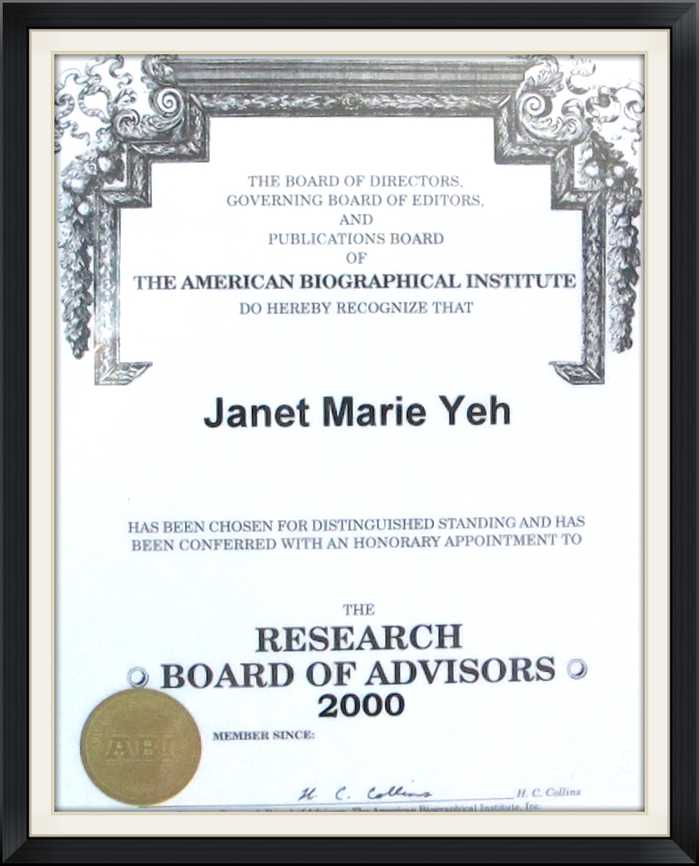 Research Board of Advisors - Dr. Janet Yeh