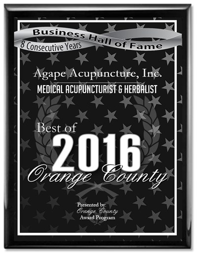 Natural Health Orange County - Agape Acupuncture, Inc. Receives 2016 Best of Orange County Award and 2016 Orange County Business Hall of Fame for eight (8) consecutive years.