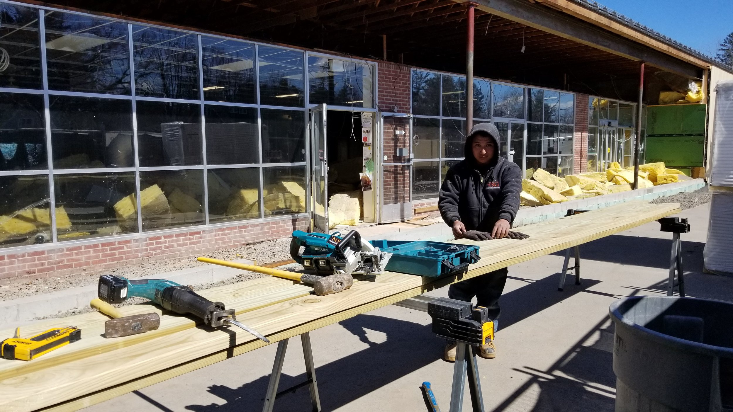 Phase 2:  Framing out the extension of store front