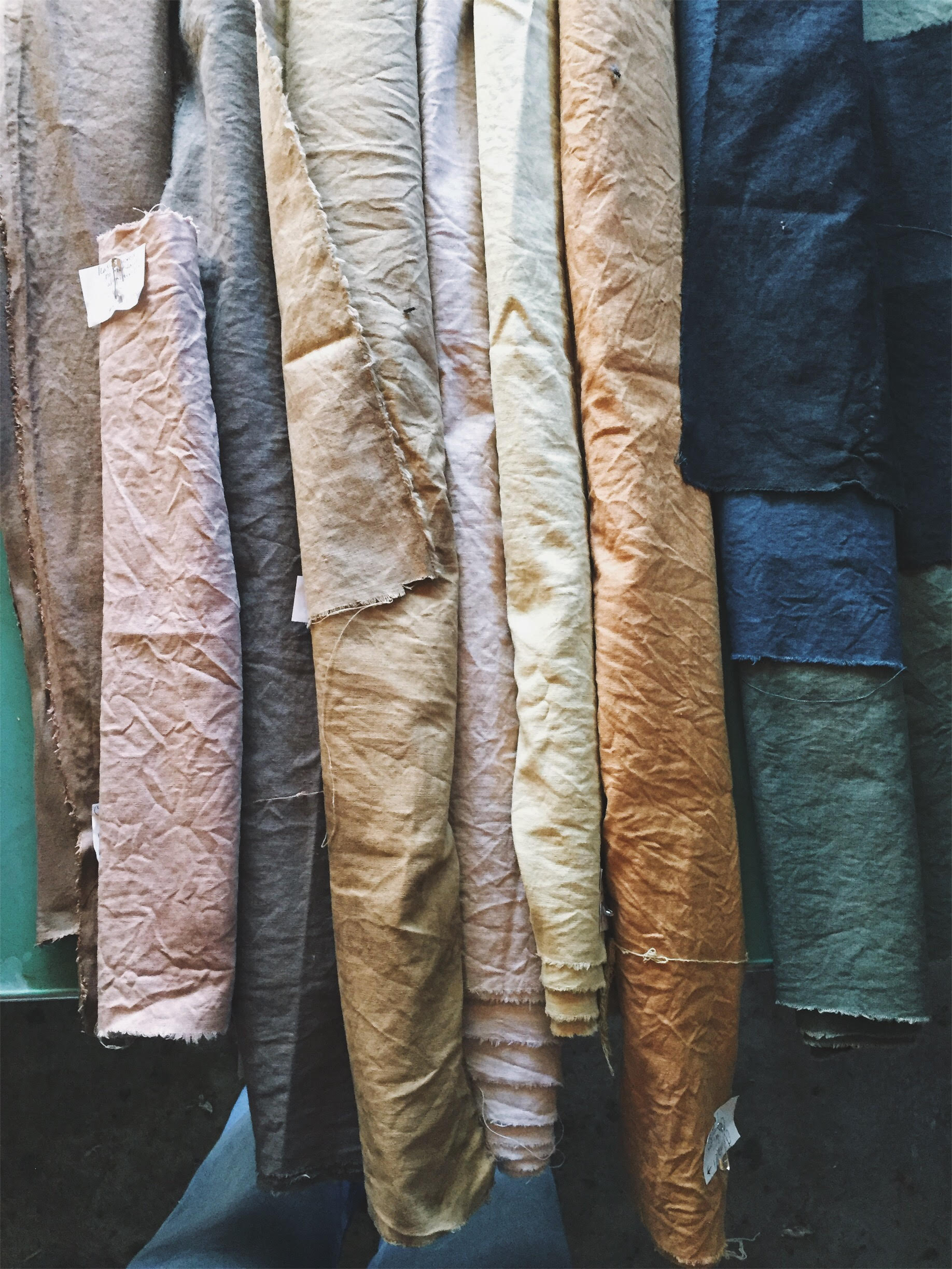 Some earthy hues produced on organic linen fabric.