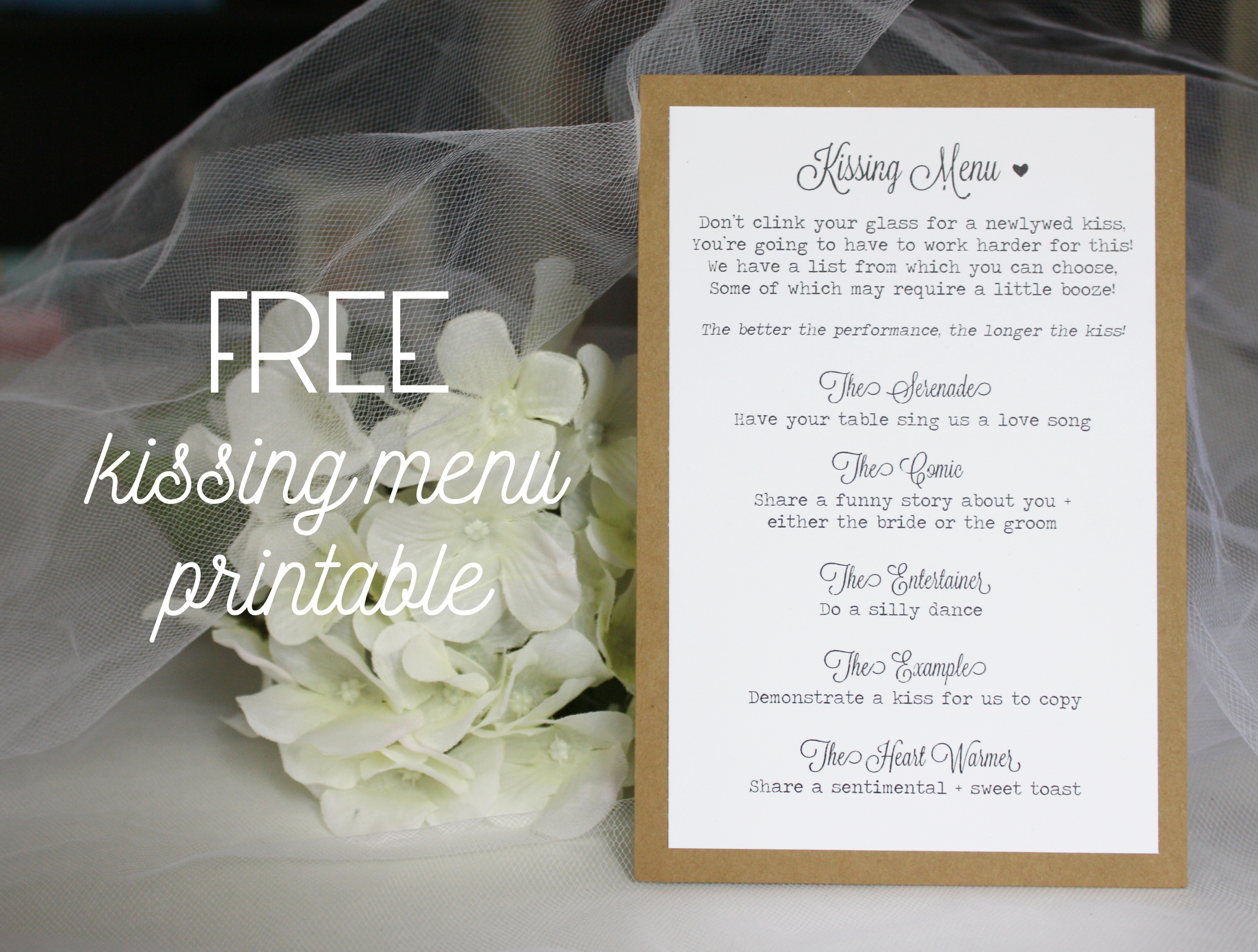 Free Kissing Menu Printable - always, by amber