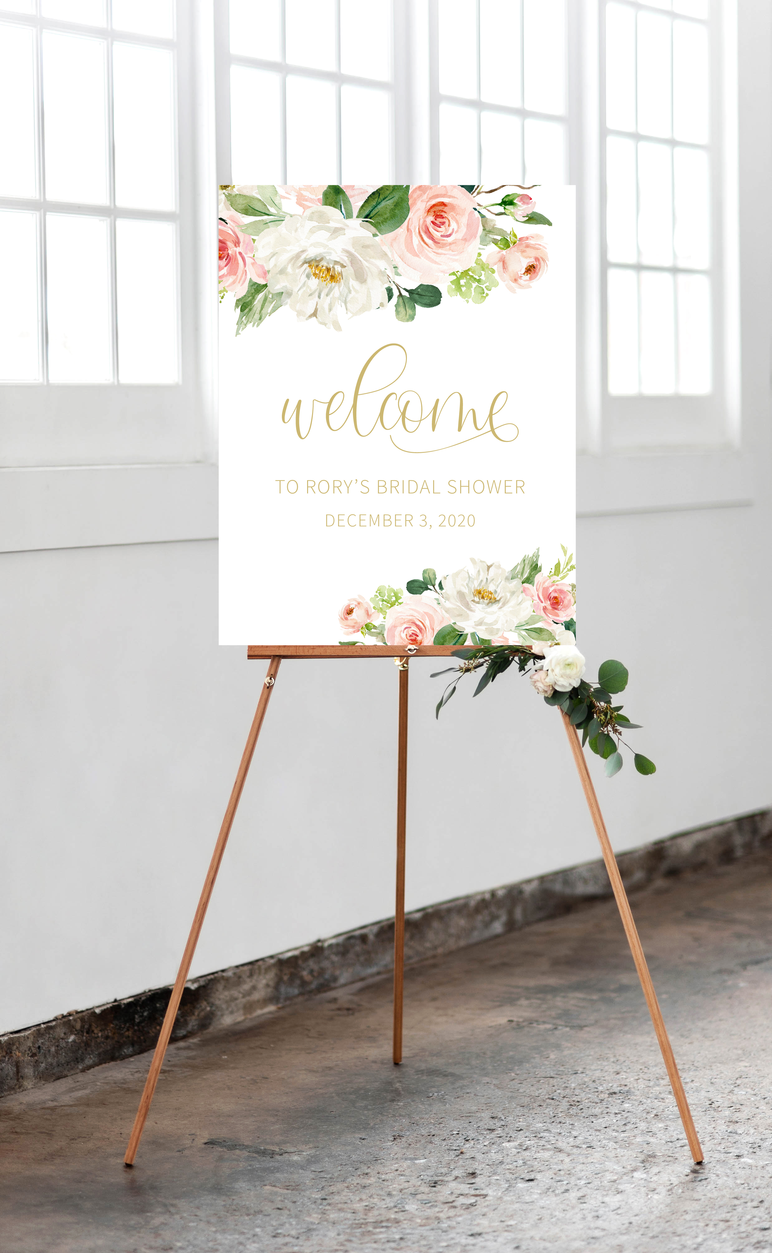 Blush and Gold Watercolor Floral Bridal Shower Welcome Sign