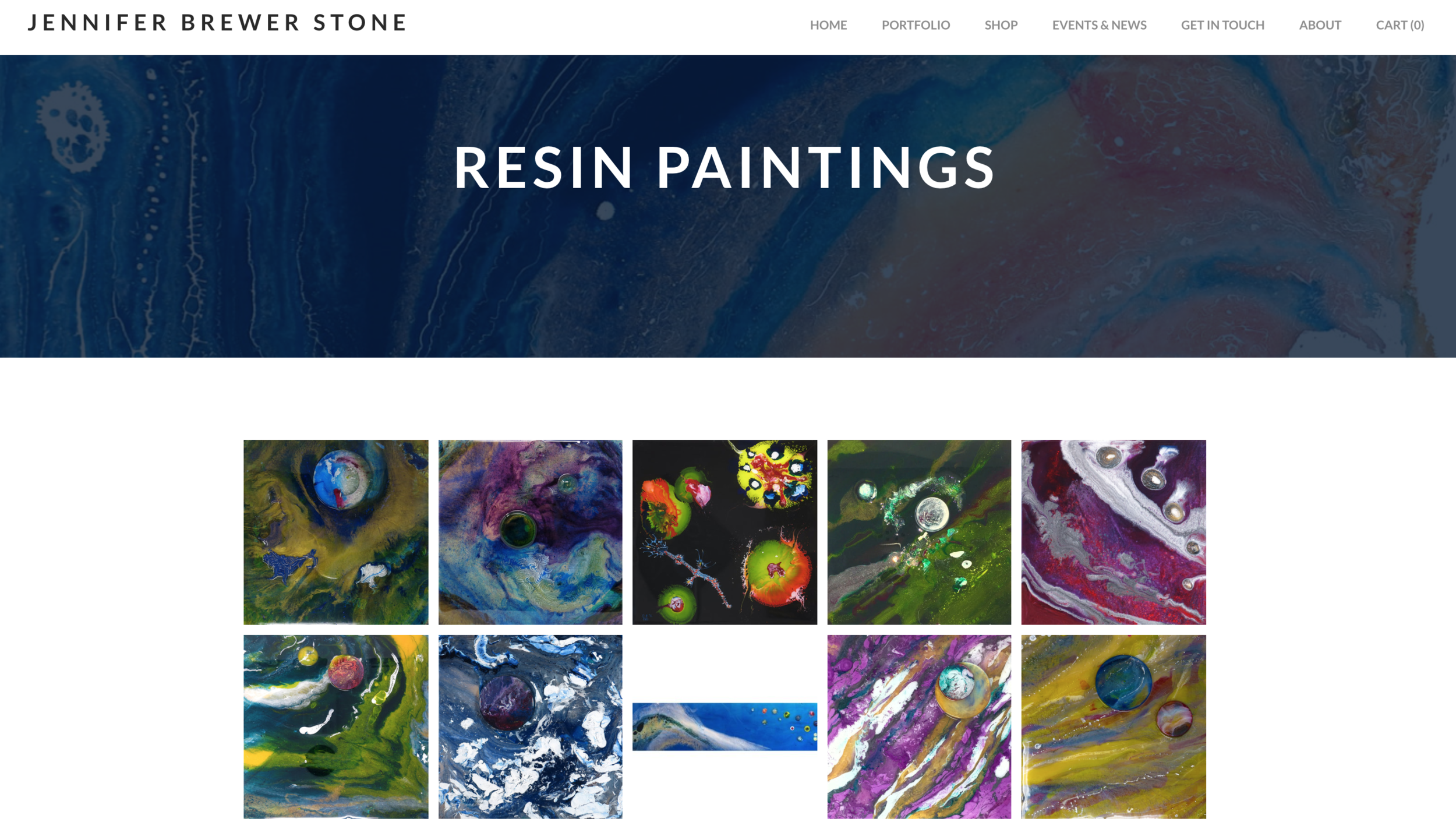 Jennifer Brewer Stone - Resin painter displaying portfolio and updating followers on upcoming shows. The site includes various galleries, shop window and the ability to reach out to Jennifer. Site created on weebly.