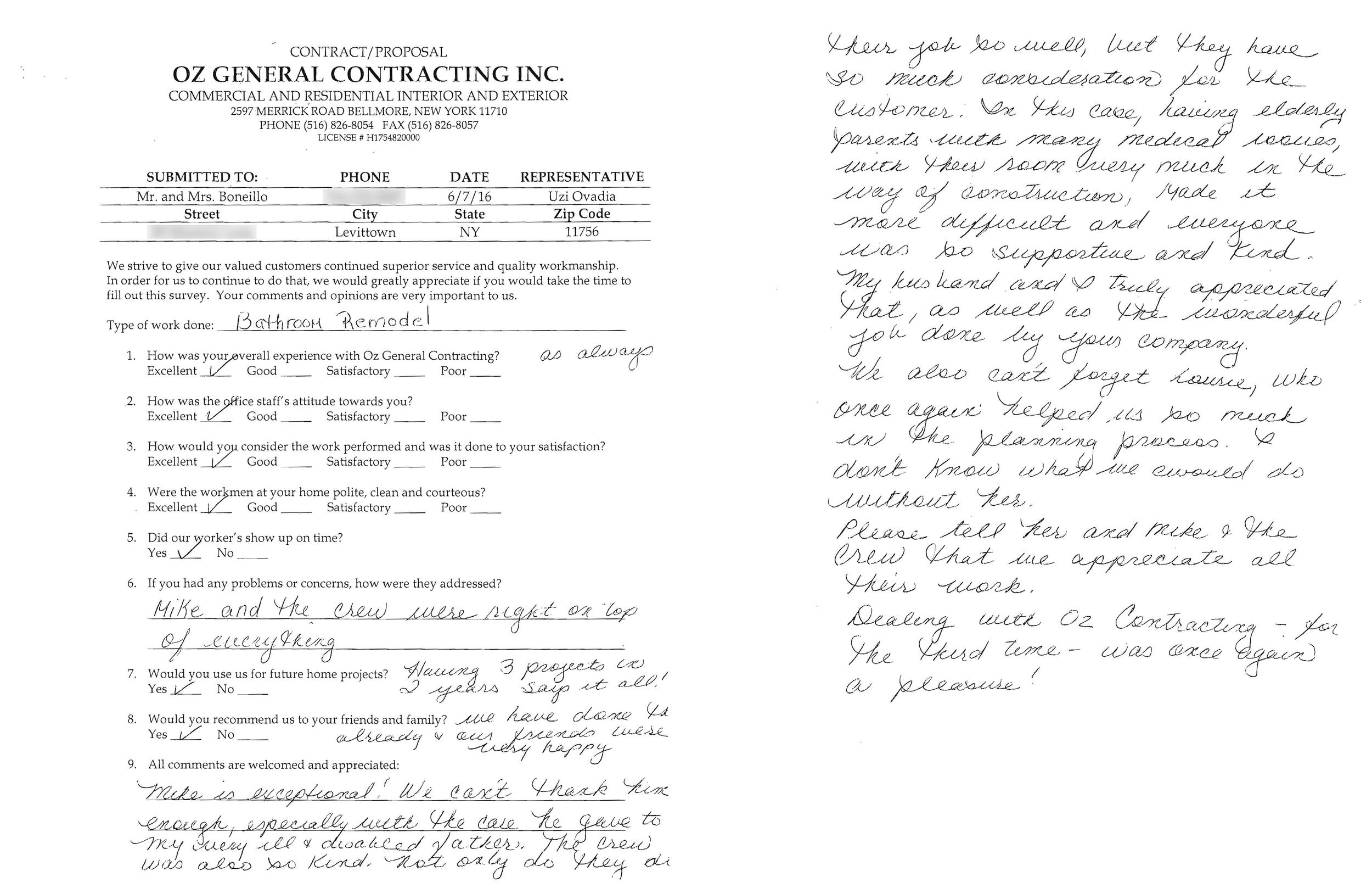 Customer Survey - Boneillo